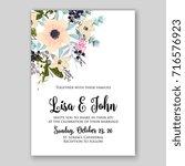 rose wedding invitation card... | Shutterstock .eps vector #716576923
