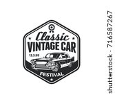 old style vintage classic car... | Shutterstock .eps vector #716587267