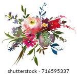 bordo yellow watercolor floral...   Shutterstock . vector #716595337