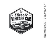 old style vintage classic car... | Shutterstock .eps vector #716596447
