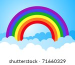 rainbow sky with clouds cartoon background - stock vector