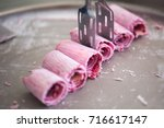 stir fried ice cream rolls at... | Shutterstock . vector #716617147