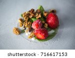 stir fried ice cream rolls at...   Shutterstock . vector #716617153