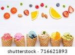 various of ice cream flavor in...   Shutterstock . vector #716621893