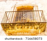 stylish balcony with a metal... | Shutterstock . vector #716658073