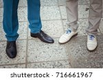 legs in the shoes of newlyweds... | Shutterstock . vector #716661967
