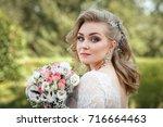 lovely young bride in wedding... | Shutterstock . vector #716664463