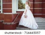 lovely young bride in wedding... | Shutterstock . vector #716665057