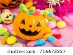 halloween pumpkin  trick or... | Shutterstock . vector #716673337