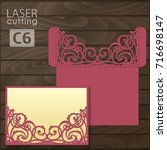laser cut wedding invitation... | Shutterstock .eps vector #716698147
