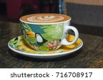cup of coffee  cappuccino  in a ...   Shutterstock . vector #716708917