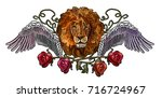 embroidery lion wings and roses.... | Shutterstock .eps vector #716724967