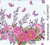 floral seamless pattern with... | Shutterstock .eps vector #716729437