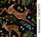 embroidery deer  spring... | Shutterstock .eps vector #716737777