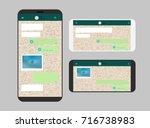 different modern smartphone... | Shutterstock .eps vector #716738983