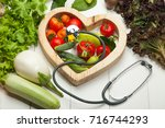 healthy lifestyle concept. eat... | Shutterstock . vector #716744293