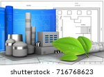 3d illustration of factory with ... | Shutterstock . vector #716768623