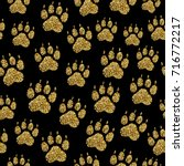 vector golden glitter dog paw... | Shutterstock .eps vector #716772217