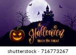 halloween hand drawn lettering  ... | Shutterstock .eps vector #716773267