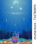 a beautiful underwater scene....   Shutterstock .eps vector #716780893
