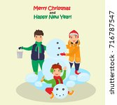 children make snowman in the... | Shutterstock .eps vector #716787547