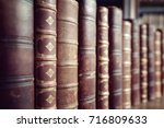 old leather bound vintage books ... | Shutterstock . vector #716809633