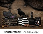 spooky black halloween decor... | Shutterstock . vector #716819857