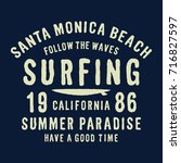 california surf typography for... | Shutterstock .eps vector #716827597