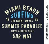 miami beach surf typography for ...   Shutterstock .eps vector #716830687