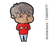 cartoon curious man   Shutterstock .eps vector #716834977