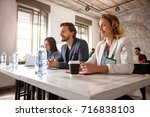 working team with female and... | Shutterstock . vector #716838103