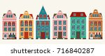 set of european colorful old... | Shutterstock .eps vector #716840287