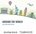 travel composition with famous... | Shutterstock .eps vector #716844133