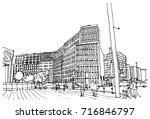 scene street illustration. hand ... | Shutterstock .eps vector #716846797