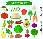vector vegetables icons set in... | Shutterstock .eps vector #716850847