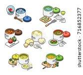 set of different meals cooking... | Shutterstock .eps vector #716852377