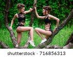 beautiful girl in sexy lingerie ...   Shutterstock . vector #716856313