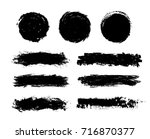 set of black paint  ink  grunge ... | Shutterstock .eps vector #716870377