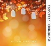 autumn  fall blurred card ... | Shutterstock .eps vector #716873083