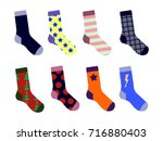 colorful socks set. with... | Shutterstock .eps vector #716880403