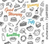 hand drawn doodle breakfast... | Shutterstock .eps vector #716893003