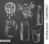 hand drawn milk sketches set....   Shutterstock .eps vector #716895817