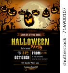 halloween party invitation with ... | Shutterstock .eps vector #716900107
