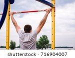 man  strong male  athlete... | Shutterstock . vector #716904007