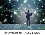 businessman in blockchain...   Shutterstock . vector #716914207