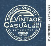 t shirt print design. casual... | Shutterstock .eps vector #716917393