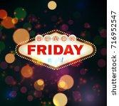 black firday retro light frame... | Shutterstock . vector #716952547