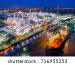 aerial view of twilight of oil...   Shutterstock . vector #716955253