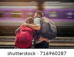 asian couple tourists in the... | Shutterstock . vector #716960287