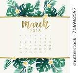 march   2018 calendar template... | Shutterstock .eps vector #716962597